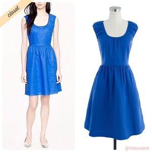 [J. Crew] Blue Linen Cap-Sleeve Dress